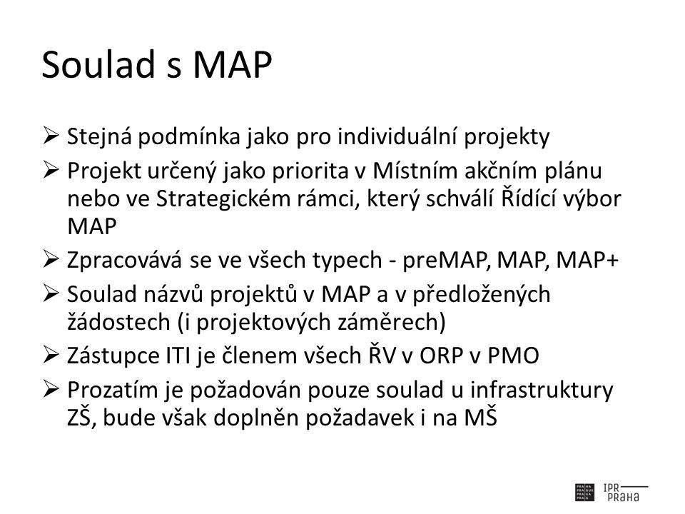 Soulad s MAP  Stejná podmínka jako pro individuální projekty  Projekt určený jako priorita v Místním akčním plánu nebo ve Strategickém rámci, který schválí Řídící výbor MAP  Zpracovává se ve všech typech - preMAP, MAP, MAP+  Soulad názvů projektů v MAP a v předložených žádostech (i projektových záměrech)  Zástupce ITI je členem všech ŘV v ORP v PMO  Prozatím je požadován pouze soulad u infrastruktury ZŠ, bude však doplněn požadavek i na MŠ
