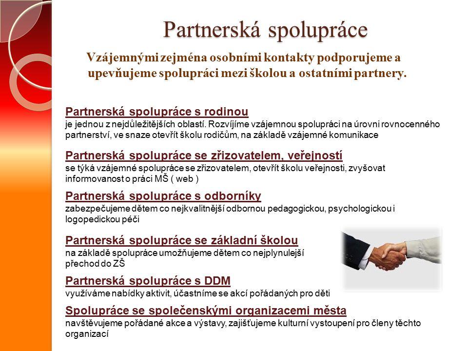 Partnerská spolupráce Vzájemnými zejména osobními kontakty podporujeme a upevňujeme spolupráci mezi školou a ostatními partnery.