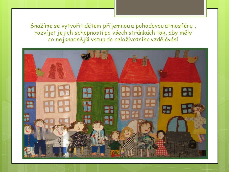 NAŠE VZDĚLÁVACÍ PRIORITY -dodržovat základní hygienické návyky -přizpůsobovat se režimu MŠ -učit děti pečovat o své okolí a dodržovat pořádek -vést děti k samostatnosti - adaptovat děti na prostředí MŠ, zařadit je mezi své vrstevníky -osvojit u dětí základy společenského chování (pozdravit, požádat, poděkovat) -podporovat a utvářet vztahy dítěte k ostatním kamarádům a dospělým -posilovat a obohacovat vzájemnou komunikaci a zajišťovat pohodu v dětské skupině - hrou pěstovat sebevědomí, tvořivost, identitu -rozvíjet pohybové aktivity -zaměřit se na správné držení (tužky, lžíce atd.) - osvojit vztah k přírodě, životnímu prostředí a zvířatům -rozvíjet slovní zásobu a souvislé vyjadřování, pečovat o výslovnost a zřetelnost řeči