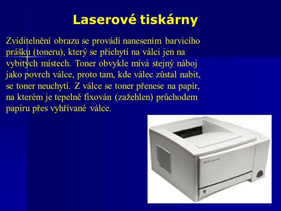 Laserové tiskárny Zviditelnění obrazu se provádí nanesením barvicího prášku (toneru), který se přichytí na válci jen na vybitých místech.