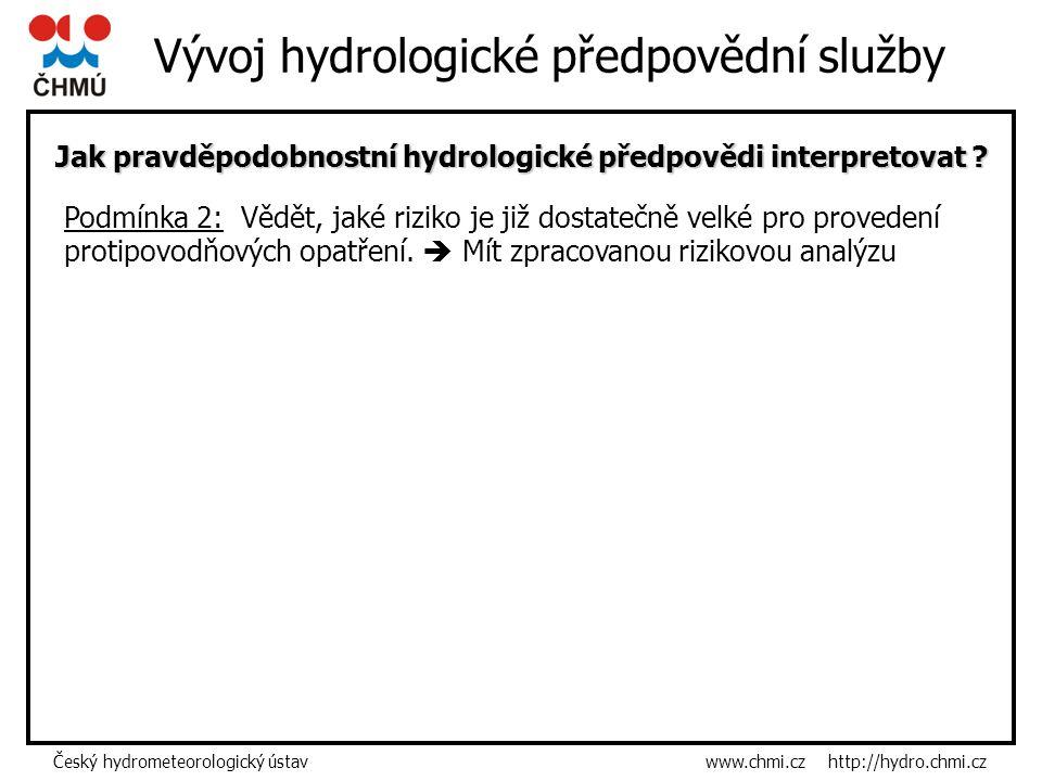 Český hydrometeorologický ústav www.chmi.cz http://hydro.chmi.cz Vývoj hydrologické předpovědní služby Jak pravděpodobnostní hydrologické předpovědi interpretovat .
