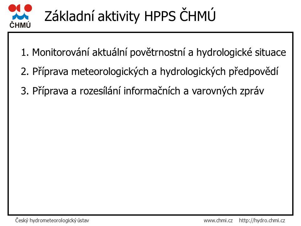 Český hydrometeorologický ústav www.chmi.cz http://hydro.chmi.cz Základní aktivity HPPS ČHMÚ 1.Monitorování aktuální povětrnostní a hydrologické situace 2.