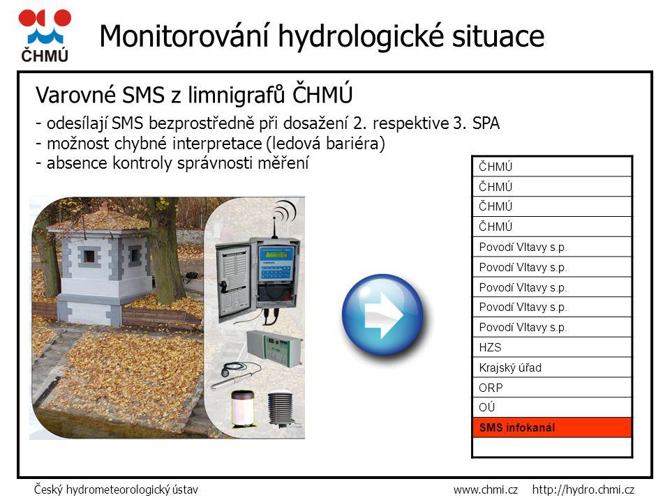Český hydrometeorologický ústav www.chmi.cz http://hydro.chmi.cz Monitorování hydrologické situace Varovné SMS z limnigrafů ČHMÚ ČHMÚ Povodí Vltavy s.p.