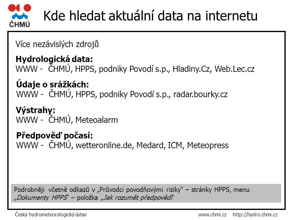 """Český hydrometeorologický ústav www.chmi.cz http://hydro.chmi.cz Kde hledat aktuální data na internetu Podrobněji včetně odkazů v """"Průvodci povodňovými riziky – stránky HPPS, menu """"Dokumenty HPPS – položka """"Jak rozumět předpovědi Více nezávislých zdrojů Hydrologická data: WWW - ČHMÚ, HPPS, podniky Povodí s.p., Hladiny.Cz, Web.Lec.cz Údaje o srážkách: WWW - ČHMÚ, HPPS, podniky Povodí s.p., radar.bourky.cz Výstrahy: WWW - ČHMÚ, Meteoalarm Předpověď počasí: WWW - ČHMÚ, wetteronline.de, Medard, ICM, Meteopress"""