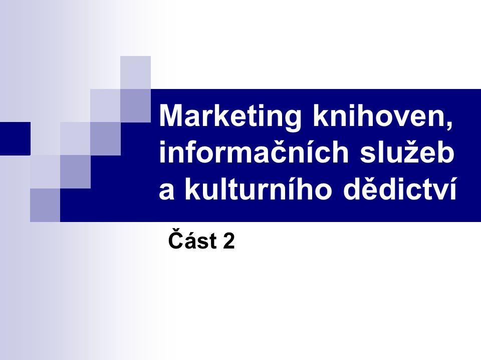 Marketing knihoven, informačních služeb a kulturního dědictví Část 2