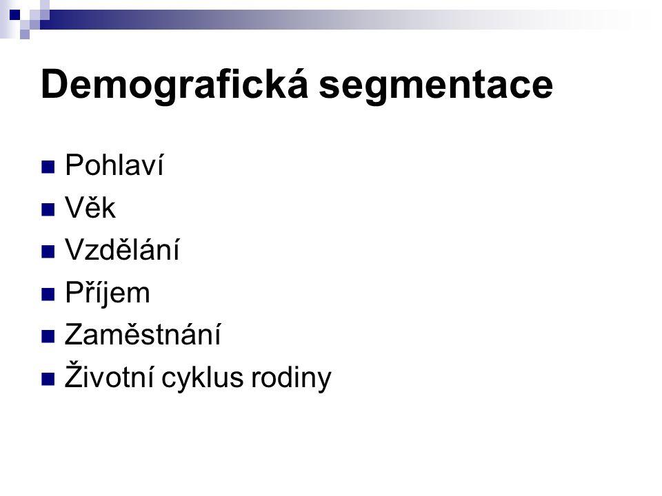Demografická segmentace Pohlaví Věk Vzdělání Příjem Zaměstnání Životní cyklus rodiny