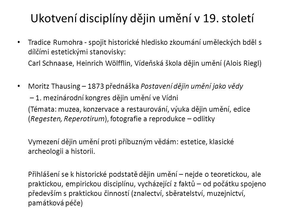 Ukotvení disciplíny dějin umění v 19.