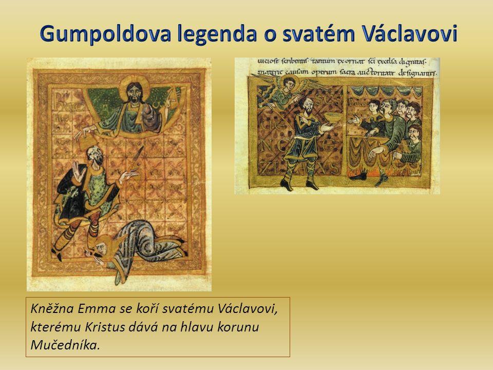 Kněžna Emma se koří svatému Václavovi, kterému Kristus dává na hlavu korunu Mučedníka.
