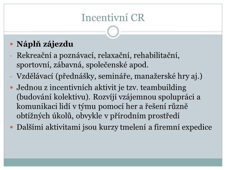 Incentivní CR Náplň zájezdu - Rekreační a poznávací, relaxační, rehabilitační, sportovní, zábavná, společenské apod.