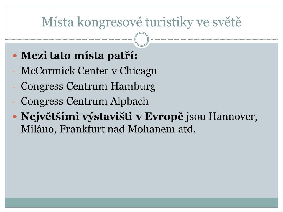 Místa kongresové turistiky ve světě Mezi tato místa patří: - McCormick Center v Chicagu - Congress Centrum Hamburg - Congress Centrum Alpbach Největšími výstavišti v Evropě jsou Hannover, Miláno, Frankfurt nad Mohanem atd.