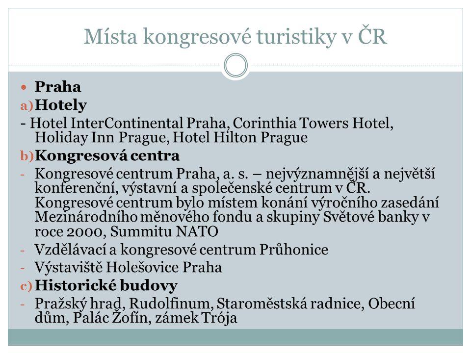 Místa kongresové turistiky v ČR Praha a) Hotely - Hotel InterContinental Praha, Corinthia Towers Hotel, Holiday Inn Prague, Hotel Hilton Prague b) Kongresová centra - Kongresové centrum Praha, a.