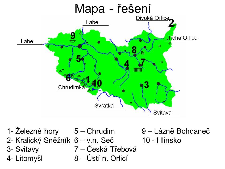 Mapa - řešení 1- Železné hory5 – Chrudim9 – Lázně Bohdaneč 2- Kralický Sněžník6 – v.n.