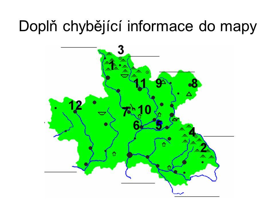 Doplň chybějící informace do mapy - řešení 1 – Krkonoše 2 – Orlické hory 3 – Sněžka 4 – Velká Deštná 5 – Rozkoš 6 – Jaroměř 7- Dvůr Králové n.