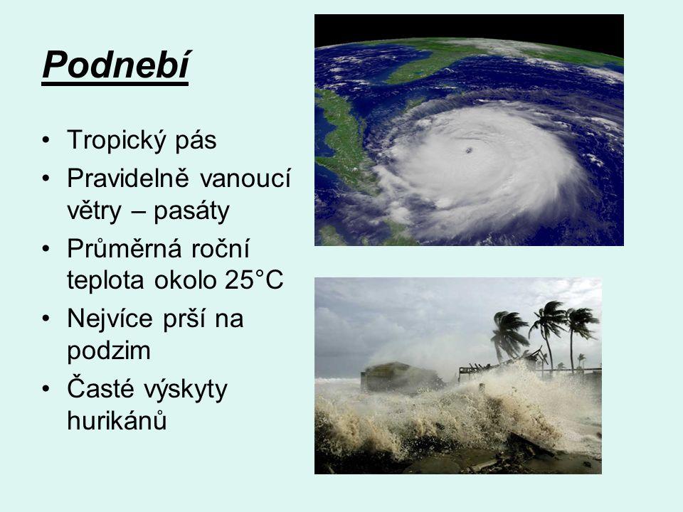 Podnebí Tropický pás Pravidelně vanoucí větry – pasáty Průměrná roční teplota okolo 25°C Nejvíce prší na podzim Časté výskyty hurikánů
