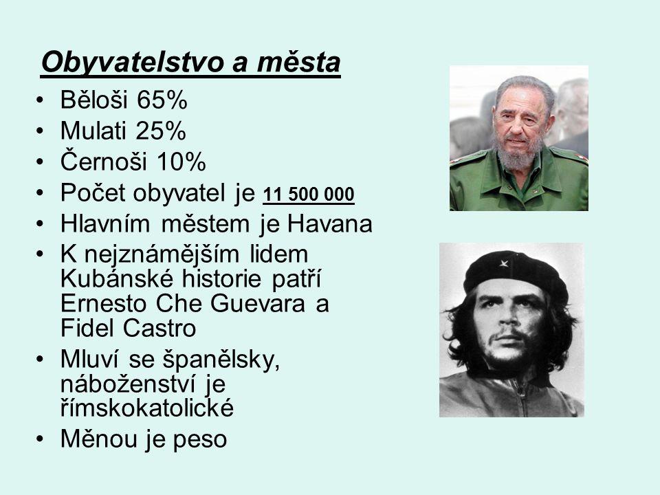 Obyvatelstvo a města Běloši 65% Mulati 25% Černoši 10% Počet obyvatel je 11 500 000 Hlavním městem je Havana K nejznámějším lidem Kubánské historie patří Ernesto Che Guevara a Fidel Castro Mluví se španělsky, náboženství je římskokatolické Měnou je peso