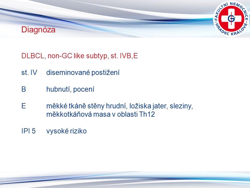 6 Diagnóza DLBCL, non-GC like subtyp, st. IVB,E st. IVdiseminované postižení B hubnutí, pocení E měkké tkáně stěny hrudní, ložiska jater, sleziny, měk