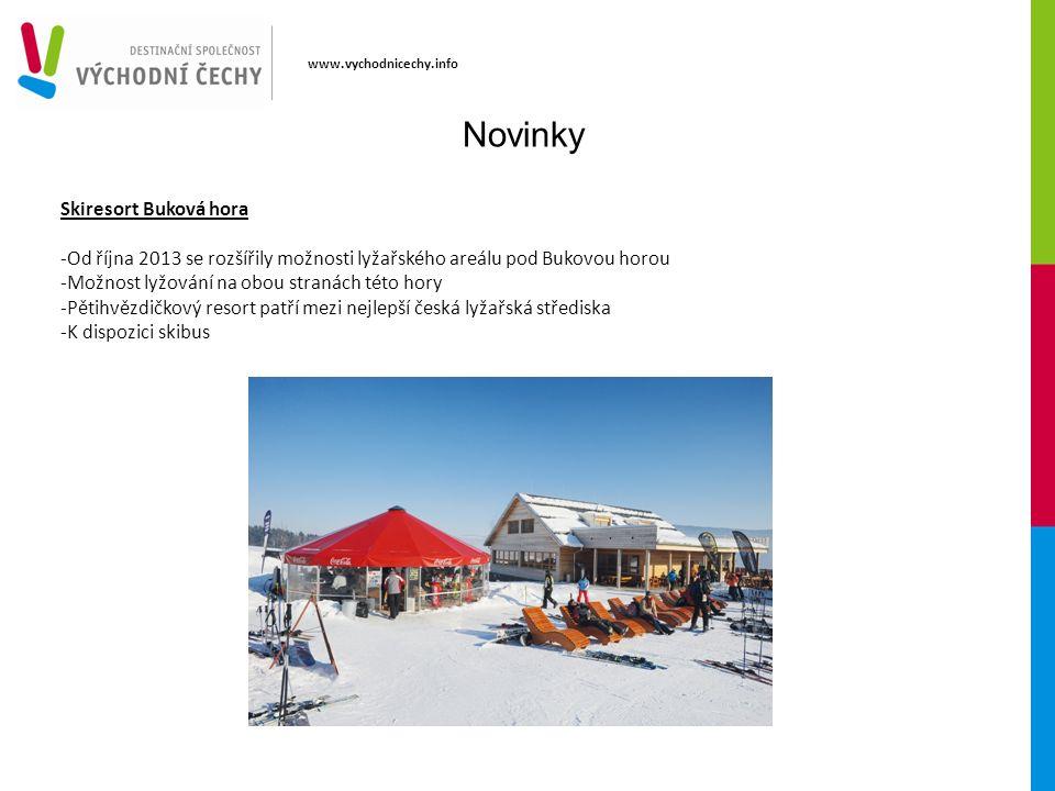 www.vychodnicechy.info Novinky Skiresort Buková hora -Od října 2013 se rozšířily možnosti lyžařského areálu pod Bukovou horou -Možnost lyžování na obou stranách této hory -Pětihvězdičkový resort patří mezi nejlepší česká lyžařská střediska -K dispozici skibus