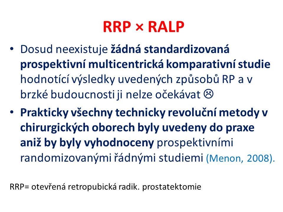 RRP × RALP Dosud neexistuje žádná standardizovaná prospektivní multicentrická komparativní studie hodnotící výsledky uvedených způsobů RP a v brzké budoucnosti ji nelze očekávat  Prakticky všechny technicky revoluční metody v chirurgických oborech byly uvedeny do praxe aniž by byly vyhodnoceny prospektivními randomizovanými řádnými studiemi (Menon, 2008).