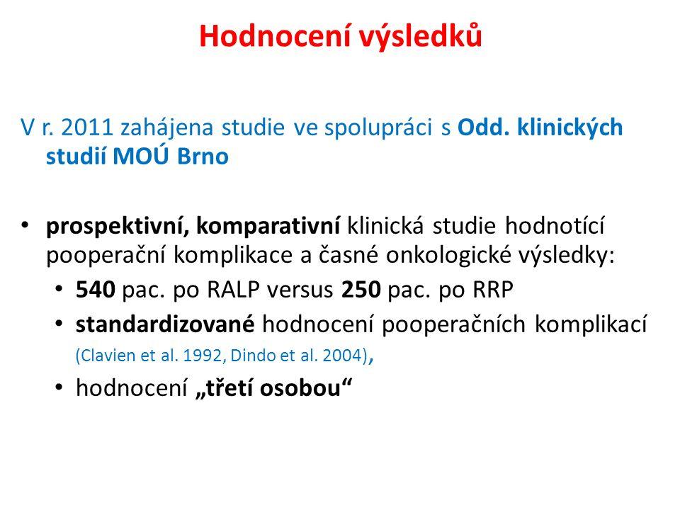 Hodnocení výsledků V r. 2011 zahájena studie ve spolupráci s Odd. klinických studií MOÚ Brno prospektivní, komparativní klinická studie hodnotící poop