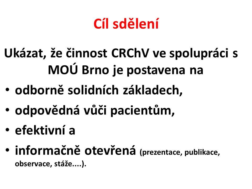 Cíl sdělení Ukázat, že činnost CRChV ve spolupráci s MOÚ Brno je postavena na odborně solidních základech, odpovědná vůči pacientům, efektivní a informačně otevřená (prezentace, publikace, observace, stáže....).