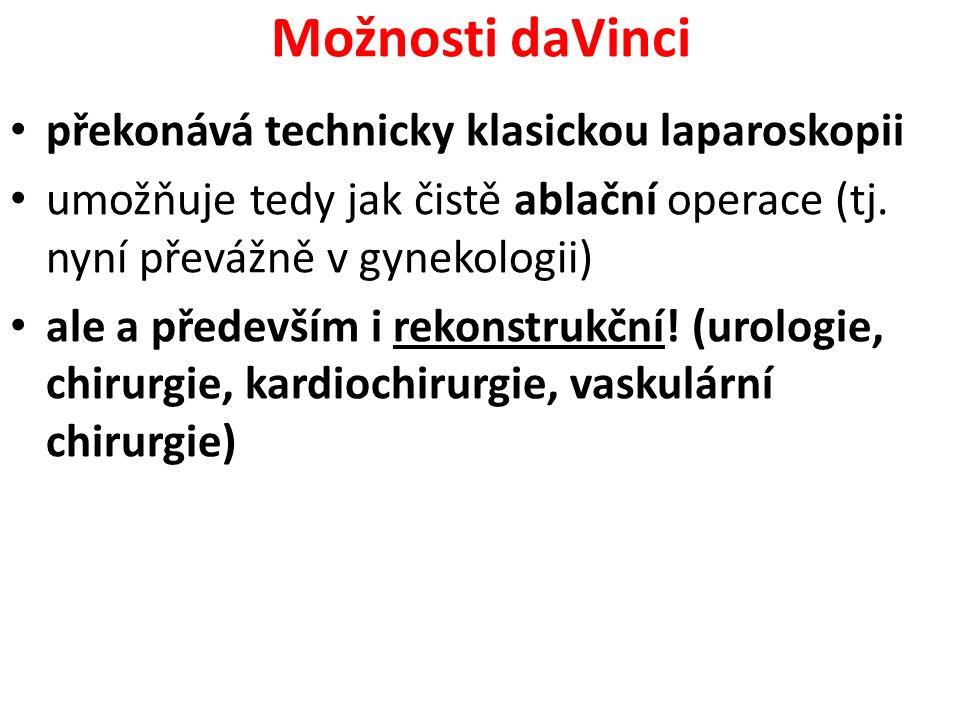Možnosti daVinci překonává technicky klasickou laparoskopii umožňuje tedy jak čistě ablační operace (tj. nyní převážně v gynekologii) ale a především