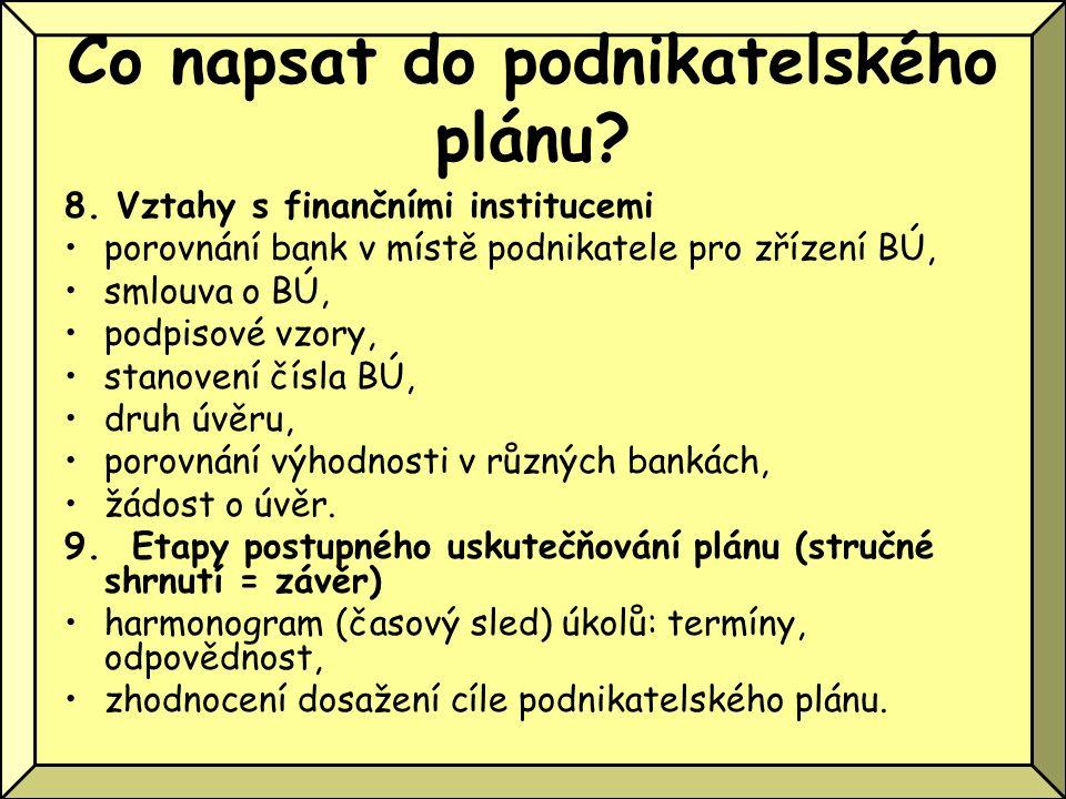 Co napsat do podnikatelského plánu? 8. Vztahy s finančními institucemi porovnání bank v místě podnikatele pro zřízení BÚ, smlouva o BÚ, podpisové vzor