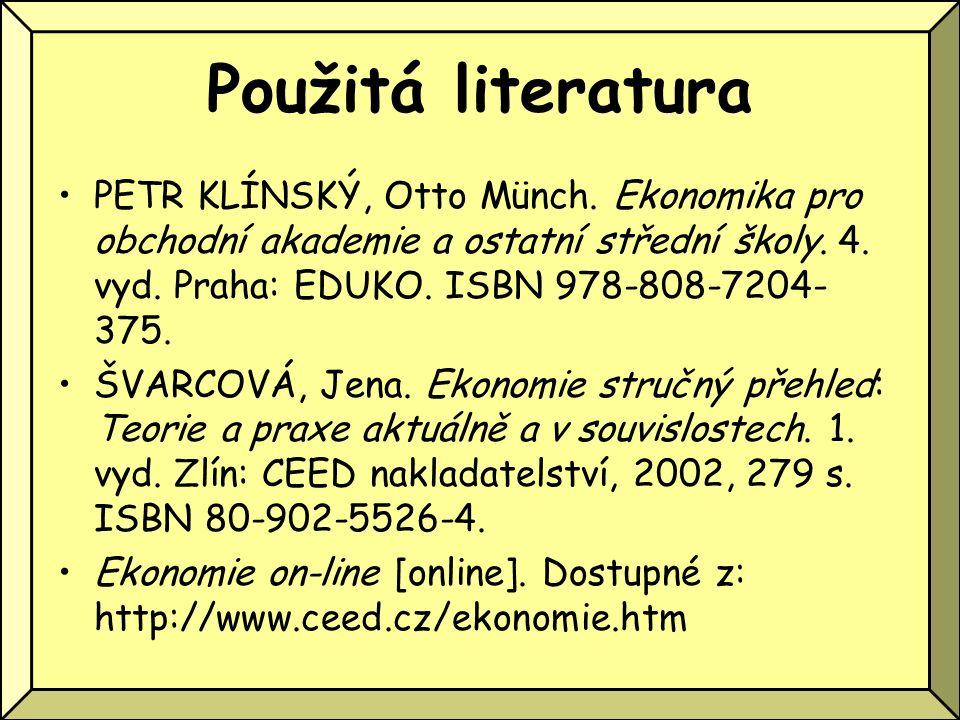 Použitá literatura PETR KLÍNSKÝ, Otto Münch. Ekonomika pro obchodní akademie a ostatní střední školy. 4. vyd. Praha: EDUKO. ISBN 978-808-7204- 375. ŠV