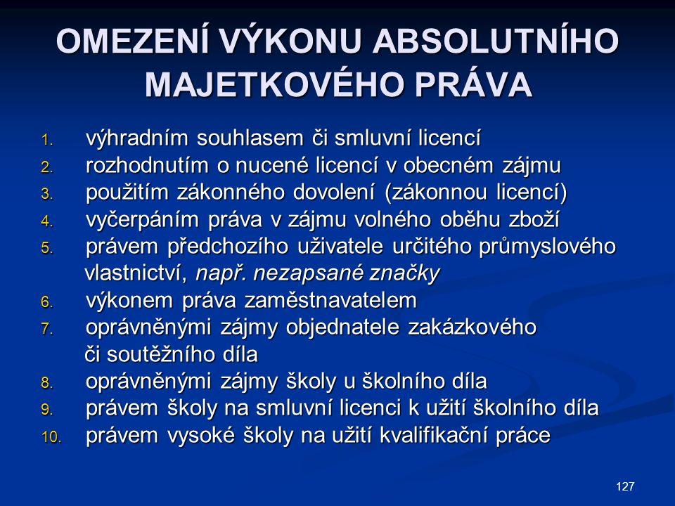 OMEZENÍ VÝKONU ABSOLUTNÍHO MAJETKOVÉHO PRÁVA 1. výhradním souhlasem či smluvní licencí 2.