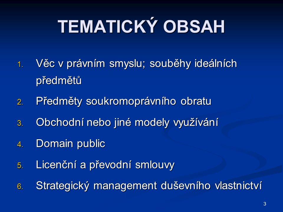 TEMATICKÝ OBSAH 1. Věc v právním smyslu; souběhy ideálních předmětů 2.
