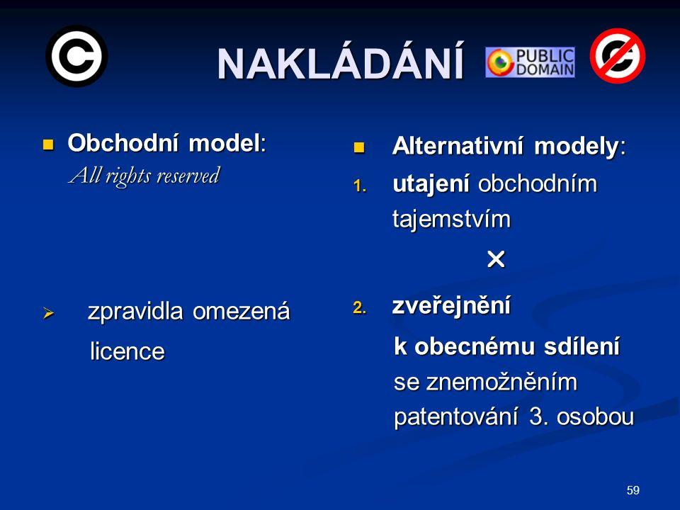 NAKLÁDÁNÍ Obchodní model: Obchodní model: All rights reserved All rights reserved  zpravidla omezená licence licence Alternativní modely: 1.
