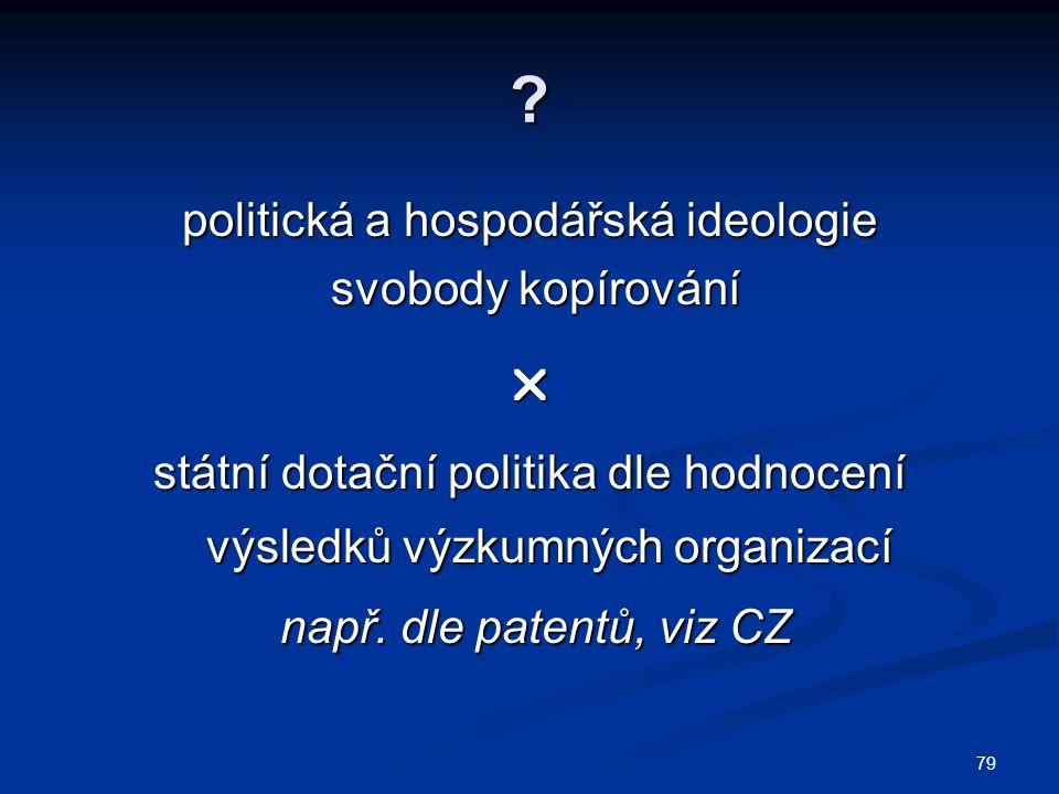 politická a hospodářská ideologie svobody kopírování svobody kopírování státní dotační politika dle hodnocení výsledků výzkumných organizací např.