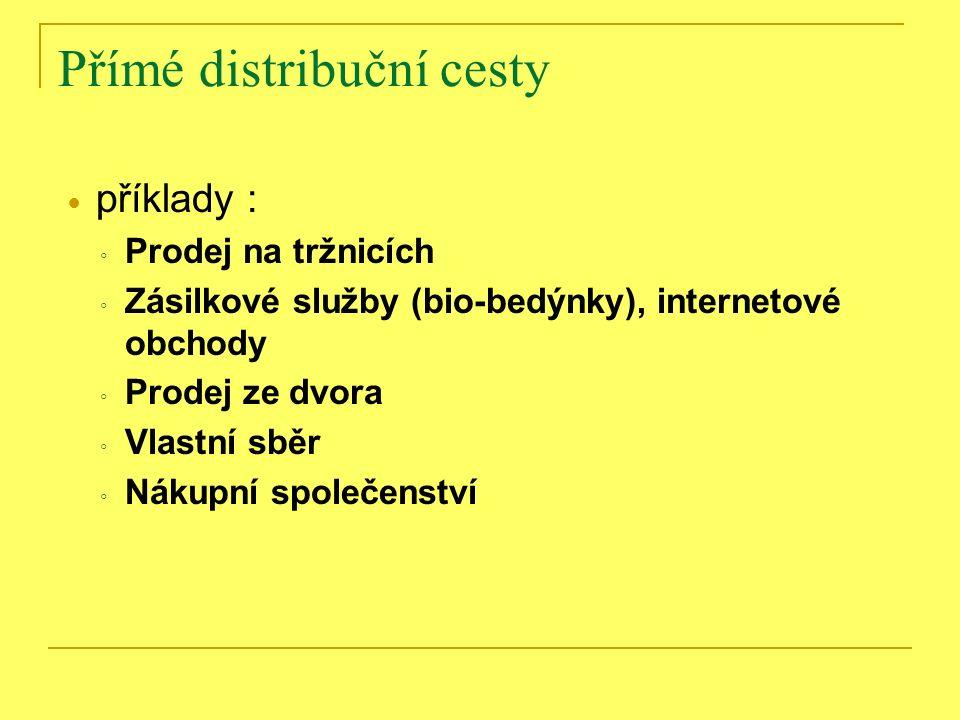 Přímé distribuční cesty Přímá forma distribuce může být realizována různými způsoby, přičemž příklady distribučních cest mohou být: ◦ Prodej na tržnicích ◦ Zásilkové služby (bio-bedýnky), internetové obchody ◦ Prodej ze dvora ◦ Vlastní sběr ◦ Nákupní společenství
