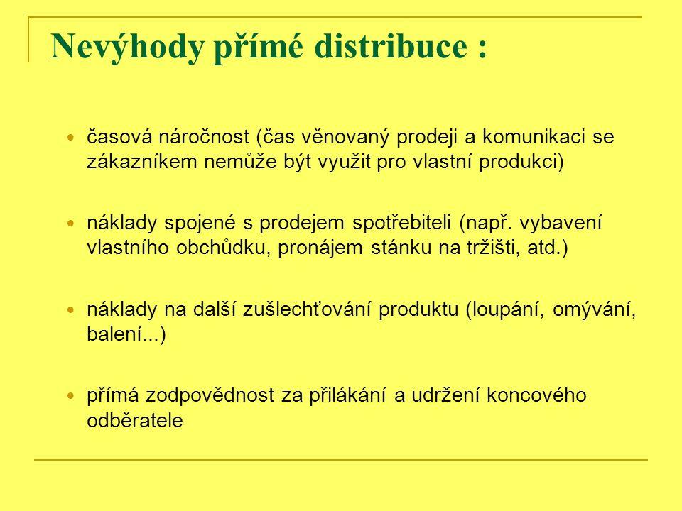 Nevýhody přímé distribuce : časová náročnost (čas věnovaný prodeji a komunikaci se zákazníkem nemůže být využit pro vlastní produkci) náklady spojené s prodejem spotřebiteli (např.