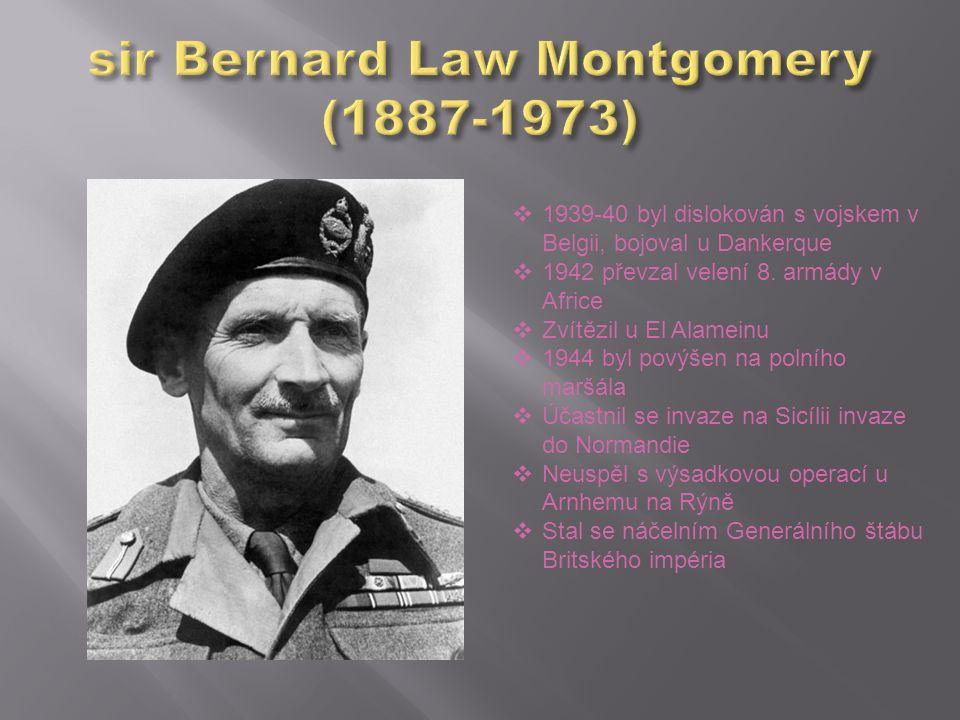  1939-40 byl dislokován s vojskem v Belgii, bojoval u Dankerque  1942 převzal velení 8. armády v Africe  Zvítězil u El Alameinu  1944 byl povýšen