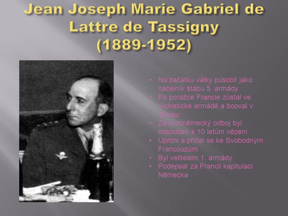 Na začátku války působil jako náčelník štábu 5. armády Po porážce Francie zůstal ve Vichistické armádě a booval v Tunisu Za protiněmecký odboj byl ods