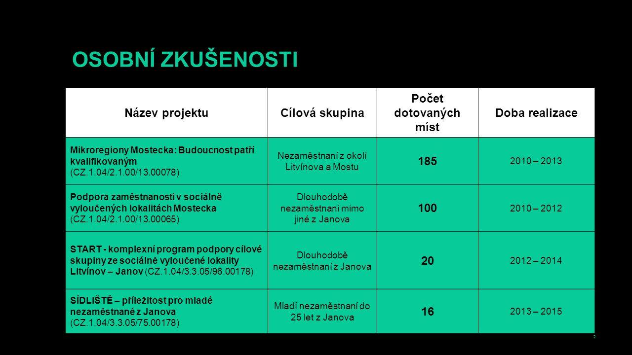 2 OSOBNÍ ZKUŠENOSTI Název projektuCílová skupina Počet dotovaných míst Doba realizace Mikroregiony Mostecka: Budoucnost patří kvalifikovaným (CZ.1.04/