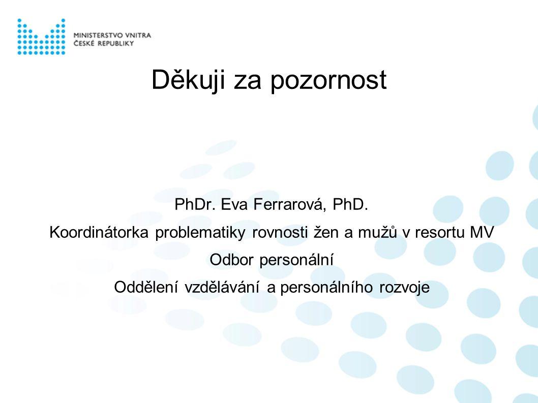 Děkuji za pozornost PhDr. Eva Ferrarová, PhD. Koordinátorka problematiky rovnosti žen a mužů v resortu MV Odbor personální Oddělení vzdělávání a perso