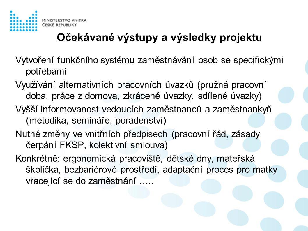 Očekávané výstupy a výsledky projektu Vytvoření funkčního systému zaměstnávání osob se specifickými potřebami Využívání alternativních pracovních úvaz