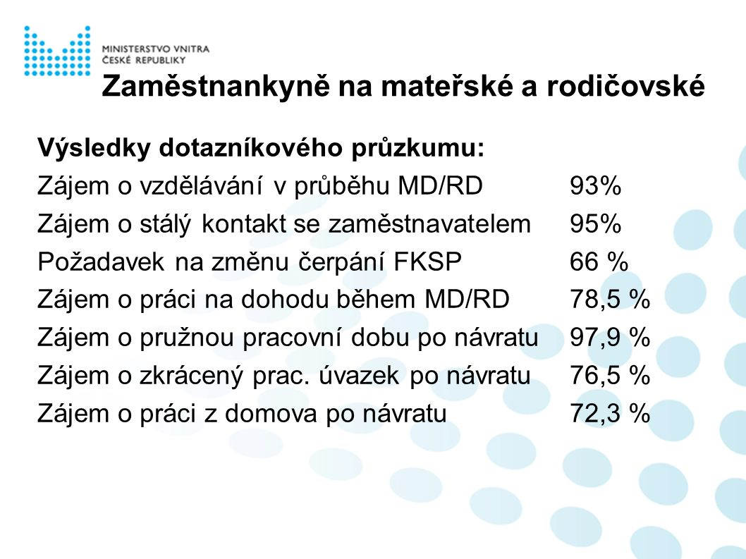 Zaměstnankyně na mateřské a rodičovské Výsledky dotazníkového průzkumu: Zájem o vzdělávání v průběhu MD/RD93% Zájem o stálý kontakt se zaměstnavatelem