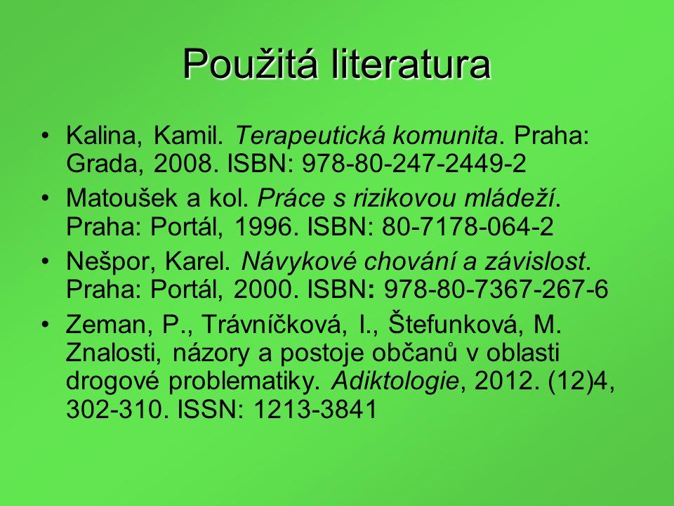 Použitá literatura Kalina, Kamil. Terapeutická komunita.