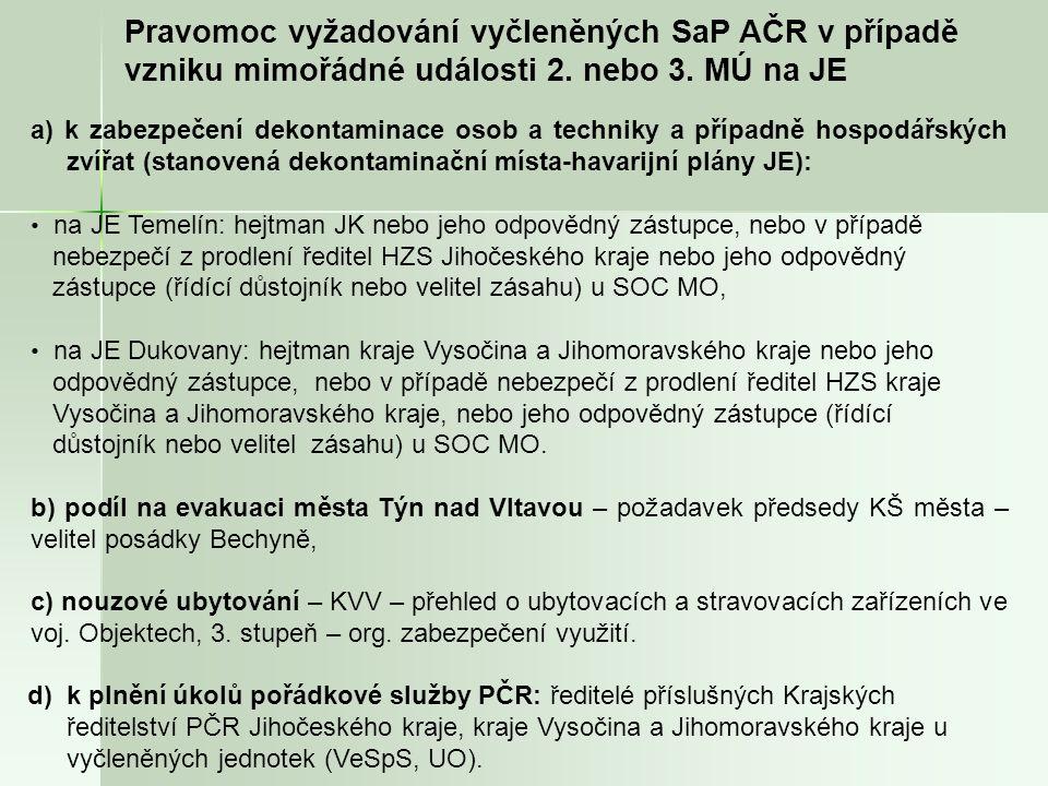 Pravomoc vyžadování vyčleněných SaP AČR v případě vzniku mimořádné události 2.
