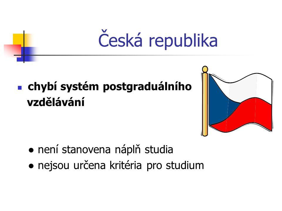 Česká republika chybí systém postgraduálního vzdělávání ● není stanovena náplň studia ● nejsou určena kritéria pro studium