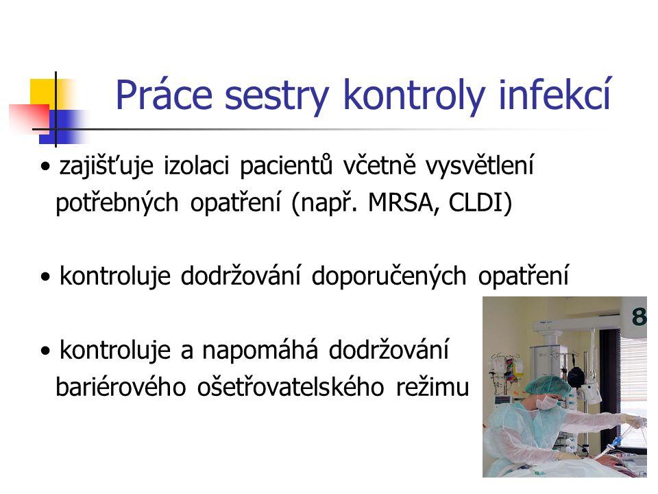 Práce sestry kontroly infekcí pomáhá při řešení provozně komplikovaných situací v souvislosti s doporučenými opatřeními systematicky přispívá k dodržování postupů hygienické desinfekce rukou