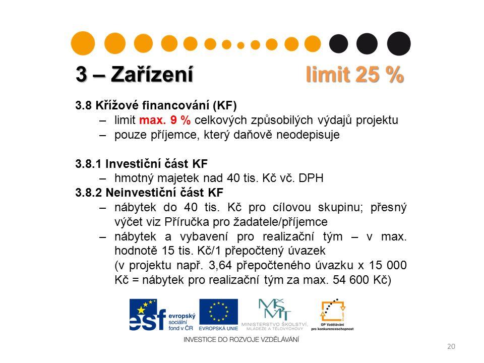 3 – Zařízení limit 25 % 20 3.8 Křížové financování (KF) –limit max.
