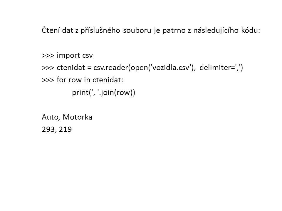 Čtení dat z příslušného souboru je patrno z následujícího kódu: >>> import csv >>> ctenidat = csv.reader(open( vozidla.csv ), delimiter= , ) >>> for row in ctenidat: print( , .join(row)) Auto, Motorka 293, 219