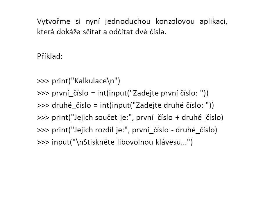 Příklad serializace: >>> import pickle >>> obj1 = (None, 1, 2, 3) >>> obj2 = [ jedna , dva , atd. ] >>> x = open( /prac_slozka/prac_soubor , wb ) >>> p = pickle.Pickler(x) >>> p.dump(obj1) >>> p.dump(obj2) >>> x.close()