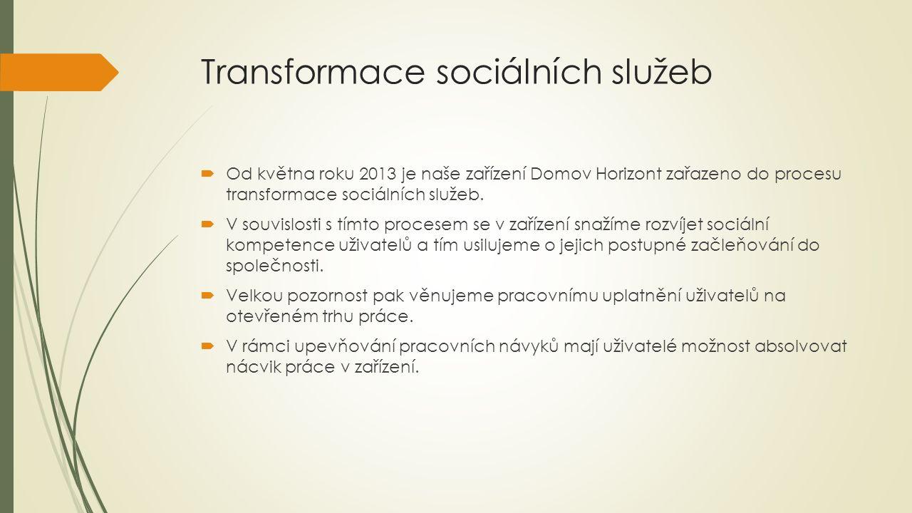 Transformace sociálních služeb  Od května roku 2013 je naše zařízení Domov Horizont zařazeno do procesu transformace sociálních služeb.  V souvislos