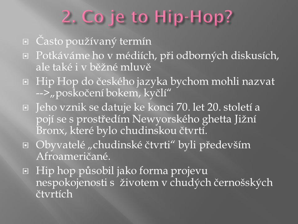 """ Často používaný termín  Potkáváme ho v médiích, při odborných diskusích, ale také i v běžné mluvě  Hip Hop do českého jazyka bychom mohli nazvat -->""""poskočení bokem, kyčlí  Jeho vznik se datuje ke konci 70."""