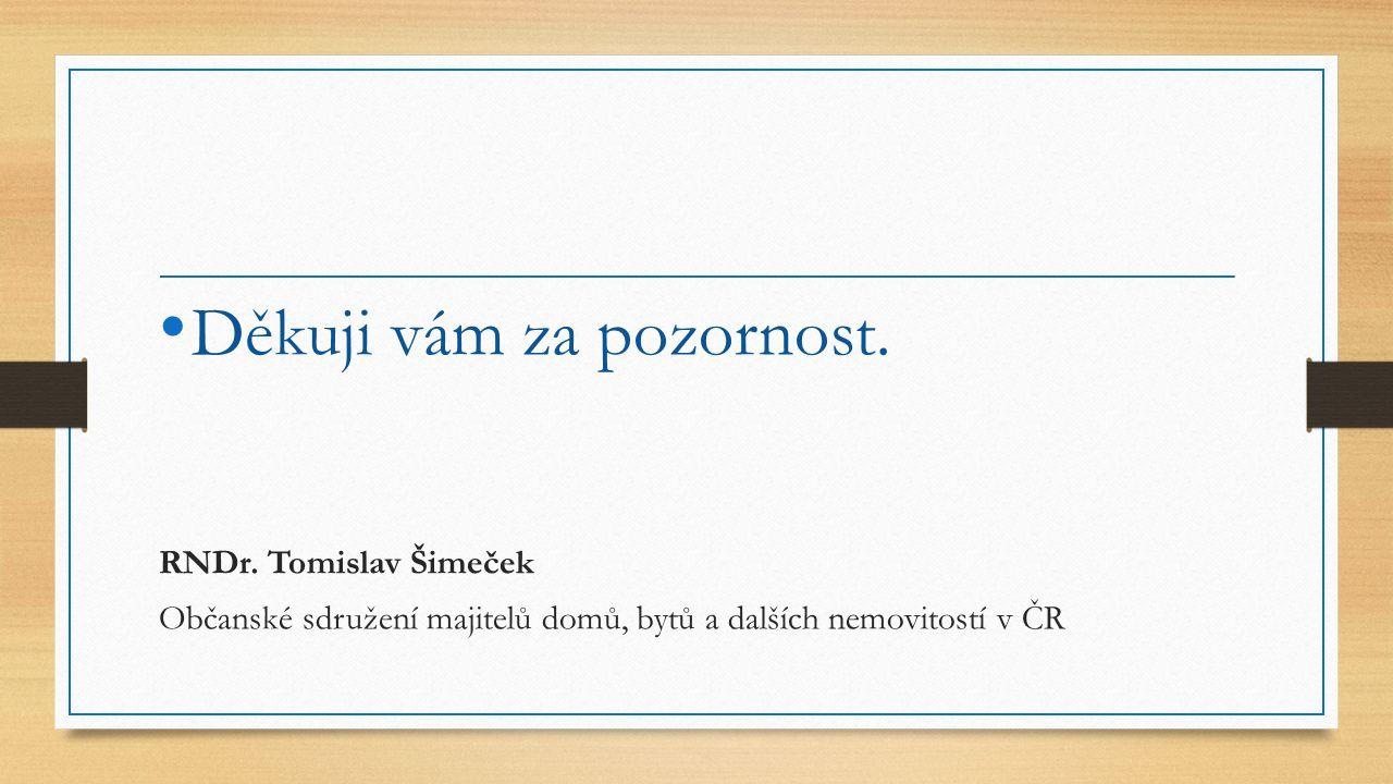 Děkuji vám za pozornost. RNDr. Tomislav Šimeček Občanské sdružení majitelů domů, bytů a dalších nemovitostí v ČR