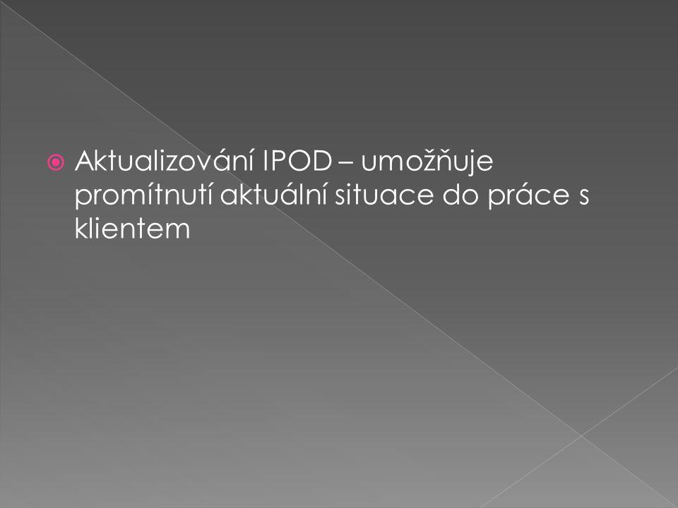  Aktualizování IPOD – umožňuje promítnutí aktuální situace do práce s klientem